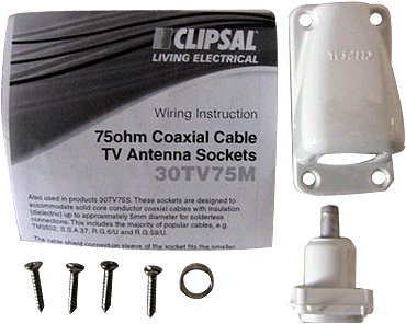 Clipsal 75Ohm Coaxial Cable Tv Antenna Socket