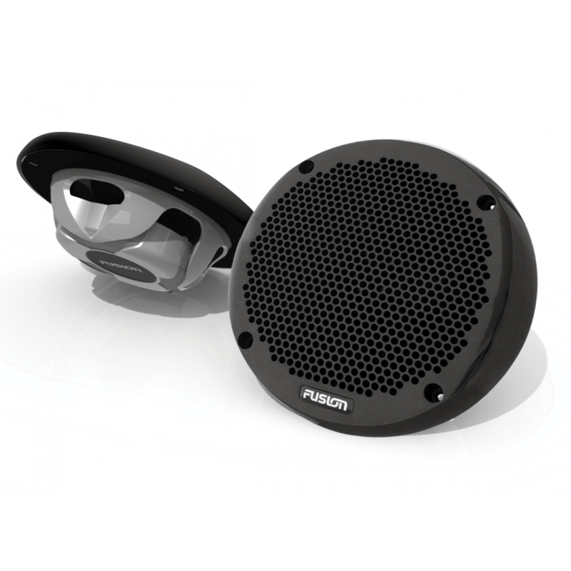 "Fusion 6"" Marine Black Shallow Mount 150 Watt 2-Way Speakers."