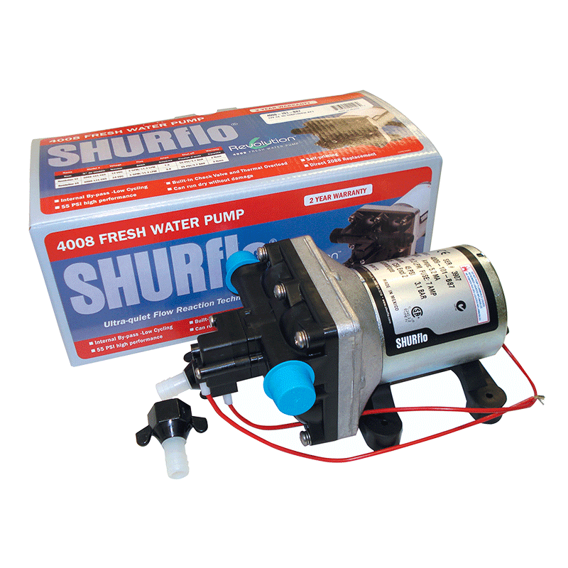 SHURFLO 12V 4009 WATER PUMP WITH FITTINGS